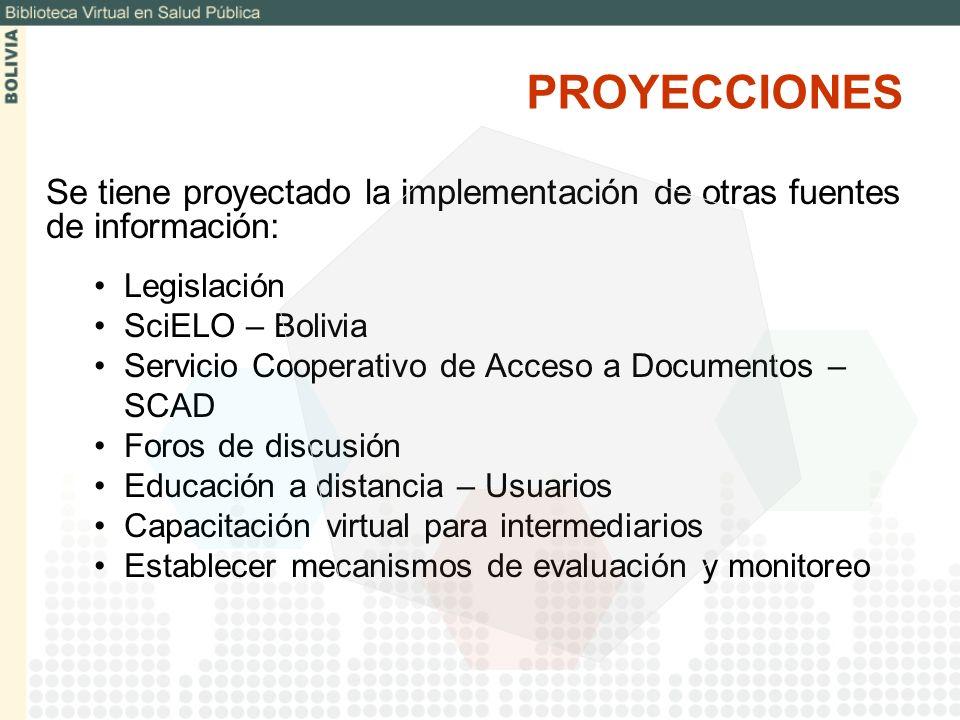 PROYECCIONESSe tiene proyectado la implementación de otras fuentes de información: Legislación. SciELO – Bolivia.
