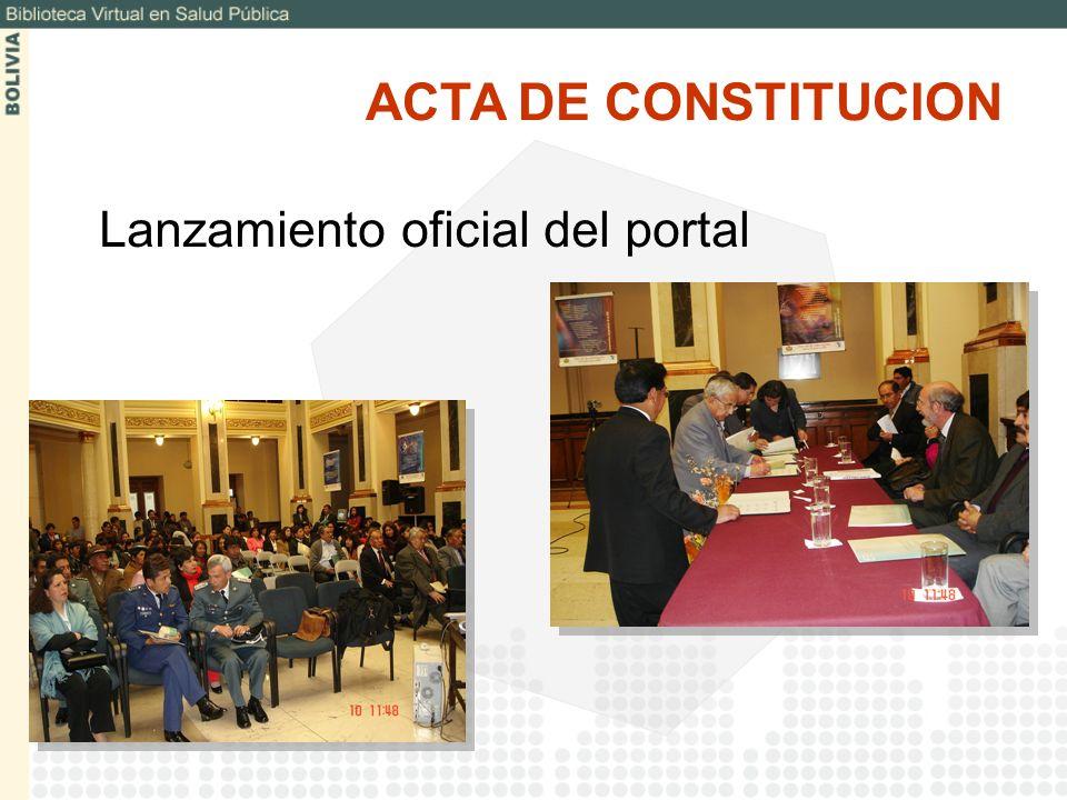 ACTA DE CONSTITUCION Lanzamiento oficial del portal
