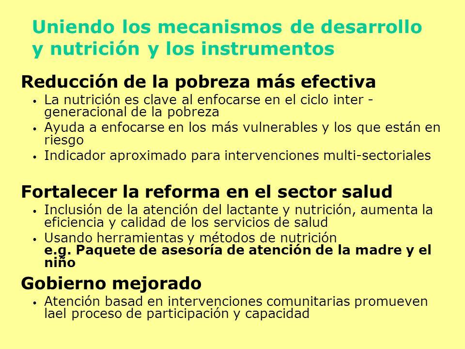 Uniendo los mecanismos de desarrollo y nutrición y los instrumentos