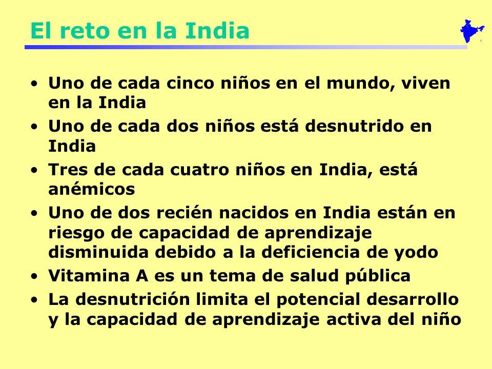 El reto en la India Uno de cada cinco niños en el mundo, viven en la India. Uno de cada dos niños está desnutrido en India.