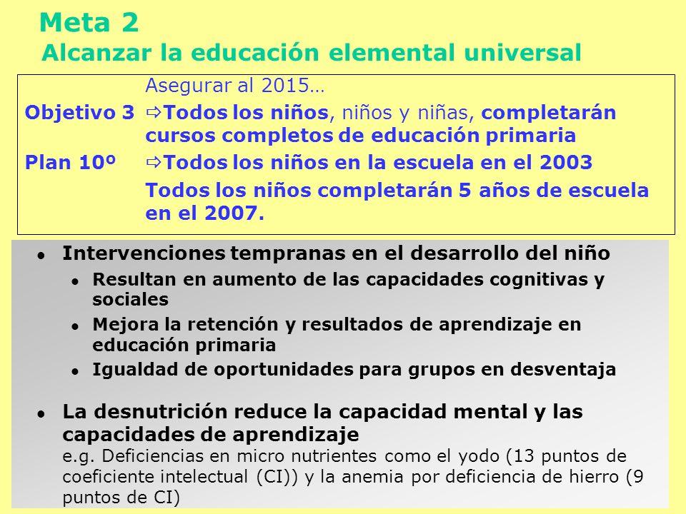 Meta 2 Alcanzar la educación elemental universal