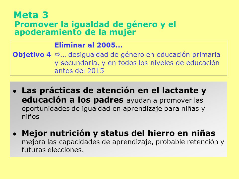 Meta 3 Promover la igualdad de género y el apoderamiento de la mujer