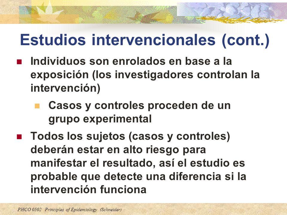 Estudios intervencionales (cont.)