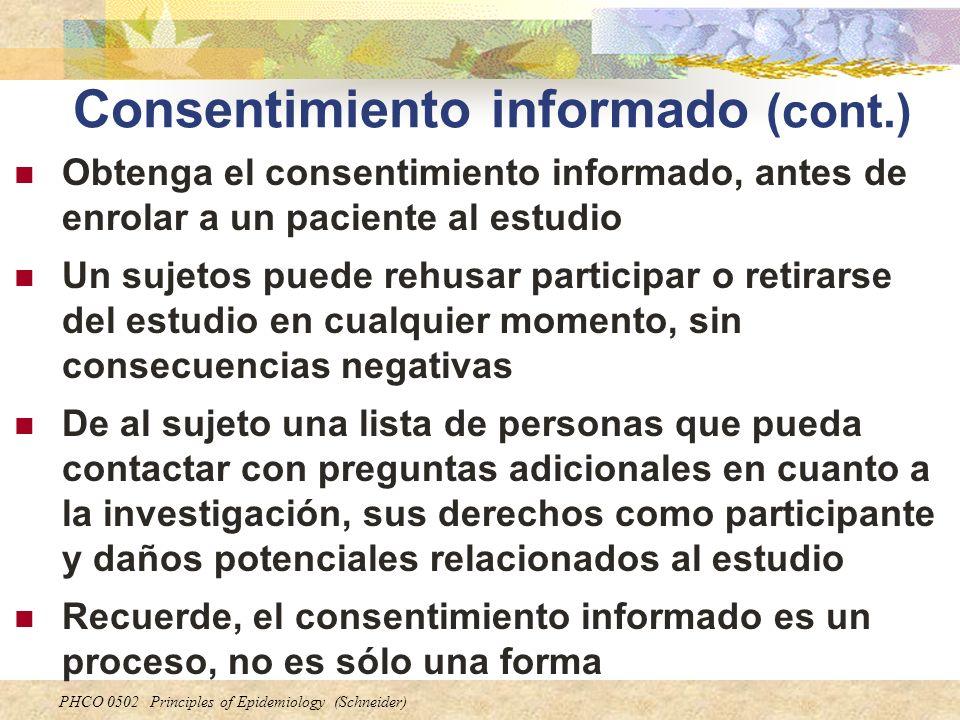 Consentimiento informado (cont.)