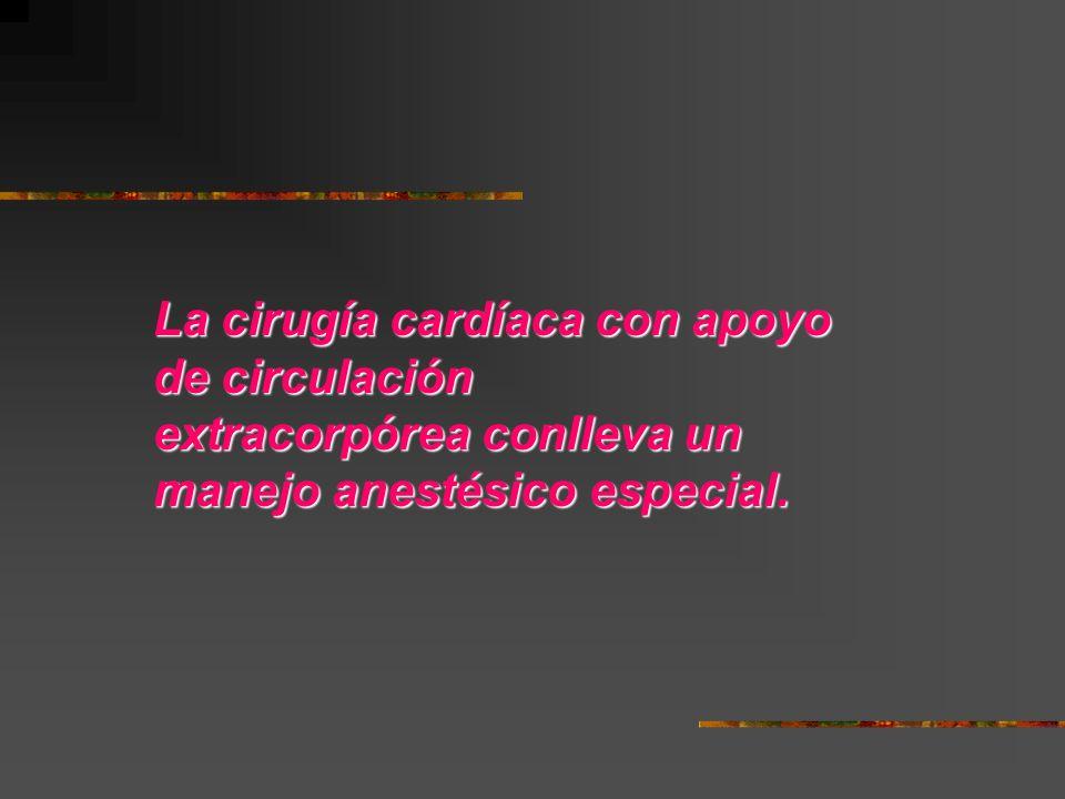La cirugía cardíaca con apoyo de circulación extracorpórea conlleva un manejo anestésico especial.
