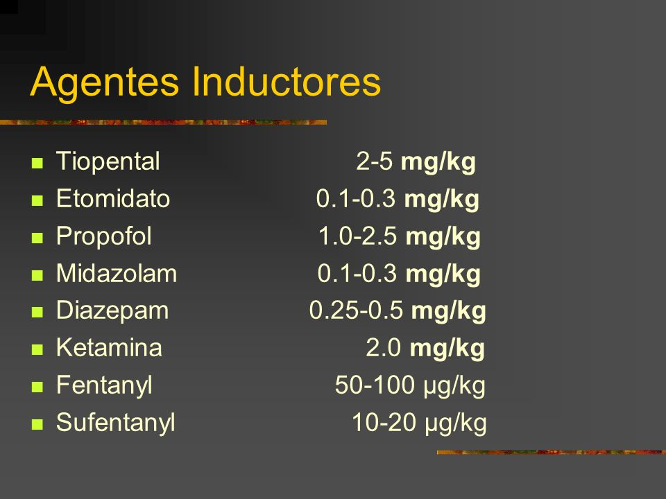Agentes Inductores Tiopental 2-5 mg/kg Etomidato 0.1-0.3 mg/kg