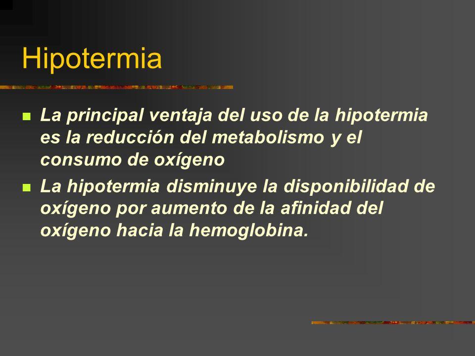 Hipotermia La principal ventaja del uso de la hipotermia es la reducción del metabolismo y el consumo de oxígeno.