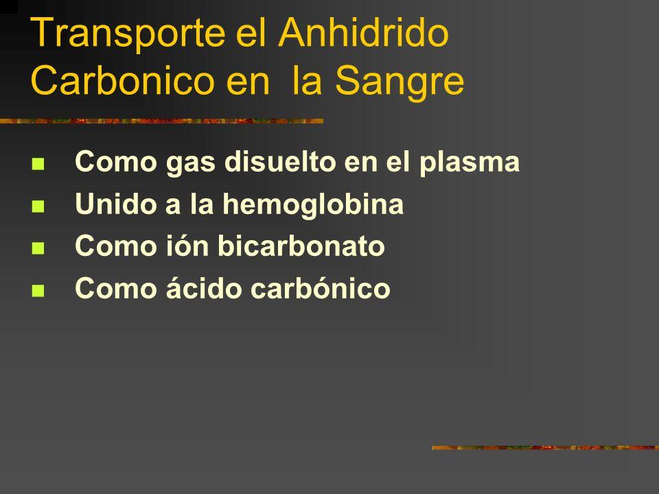 Transporte el Anhidrido Carbonico en la Sangre