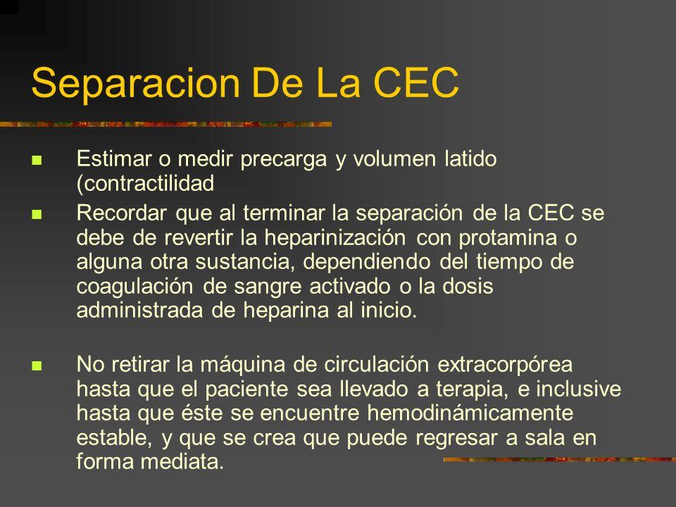 Separacion De La CEC Estimar o medir precarga y volumen latido (contractilidad.
