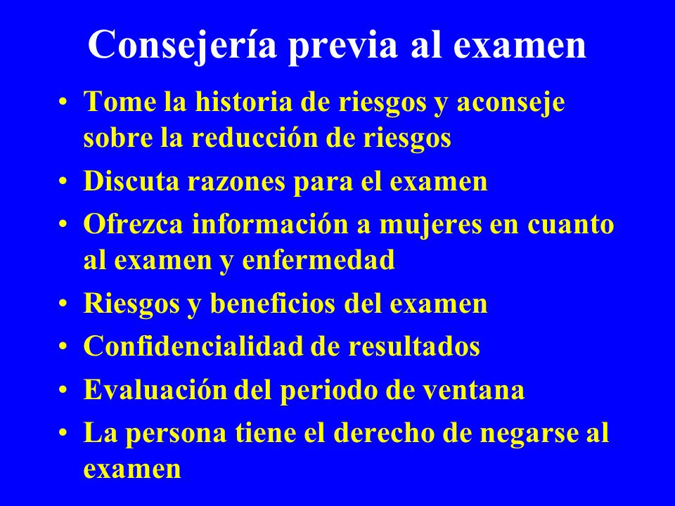 Consejería previa al examen