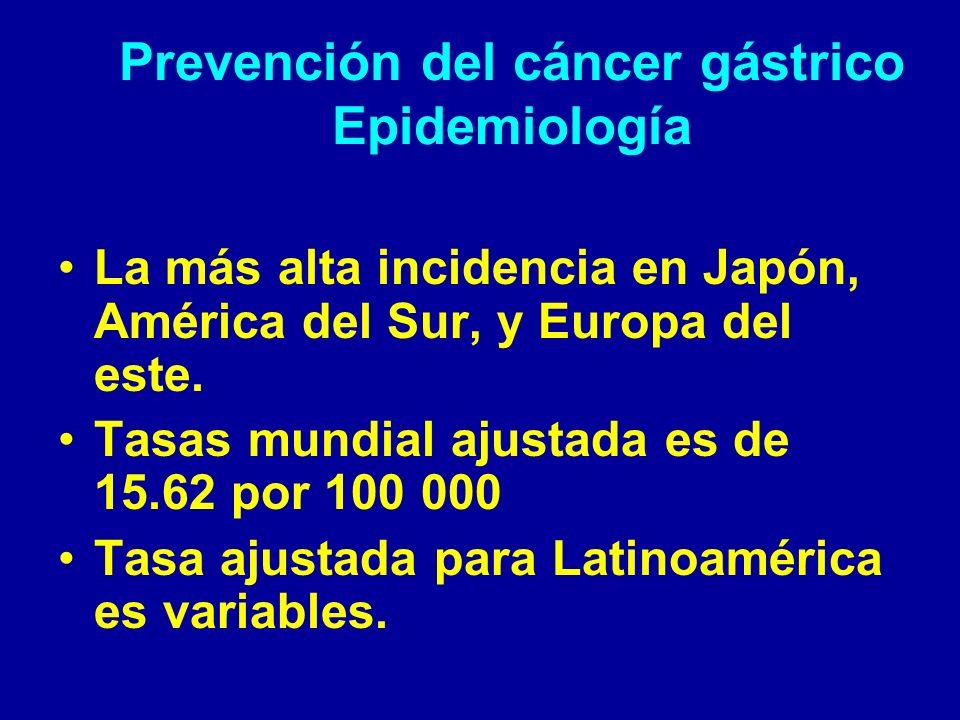 Prevención del cáncer gástrico Epidemiología