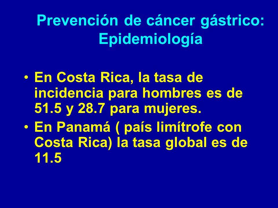 Prevención de cáncer gástrico: Epidemiología