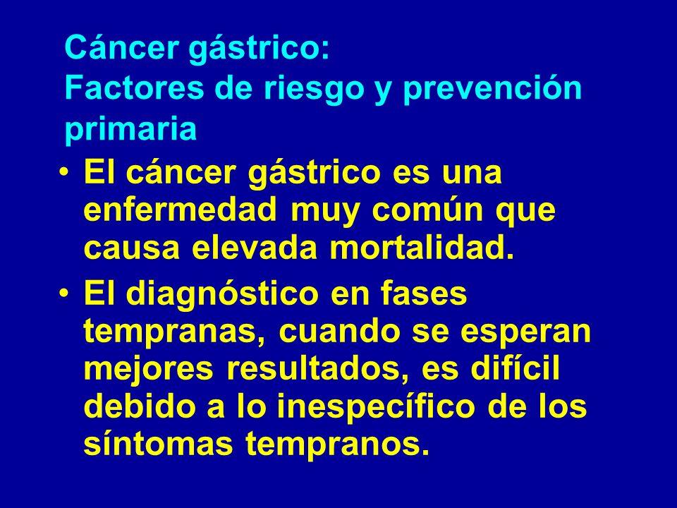 Cáncer gástrico: Factores de riesgo y prevención primaria