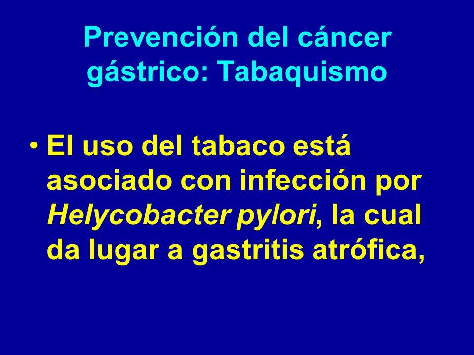 Prevención del cáncer gástrico: Tabaquismo