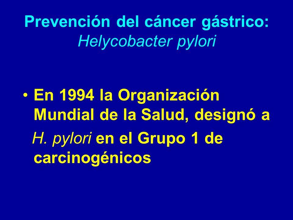 Prevención del cáncer gástrico: Helycobacter pylori