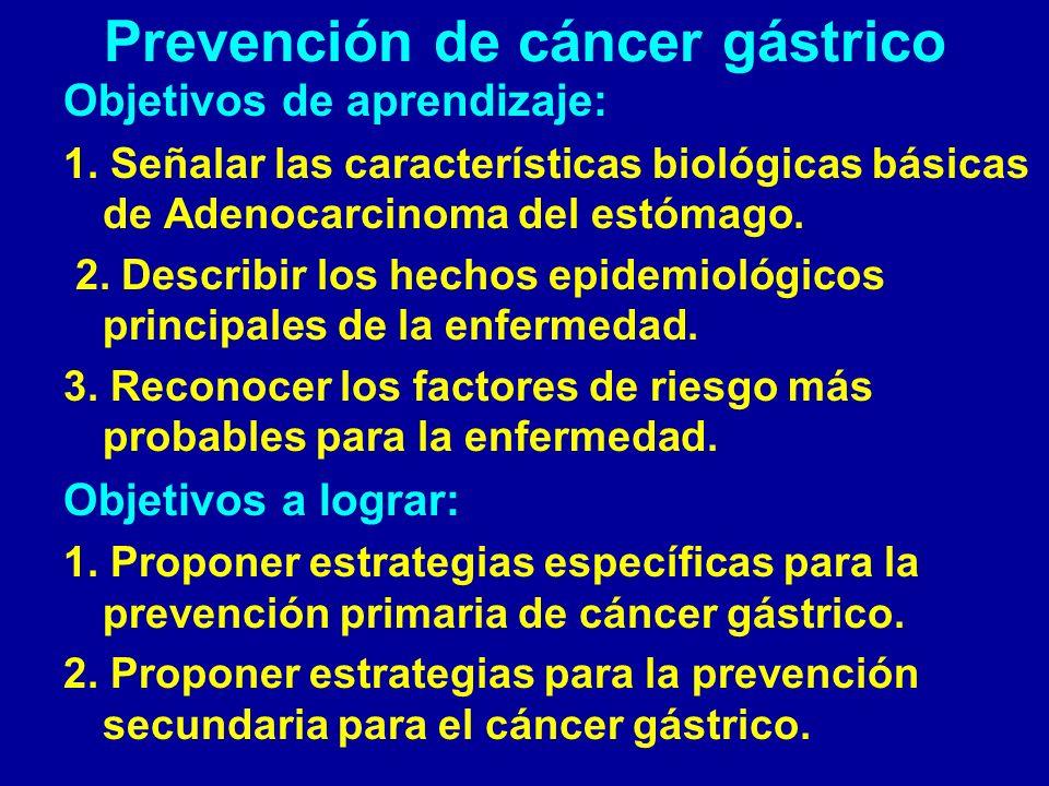 Prevención de cáncer gástrico