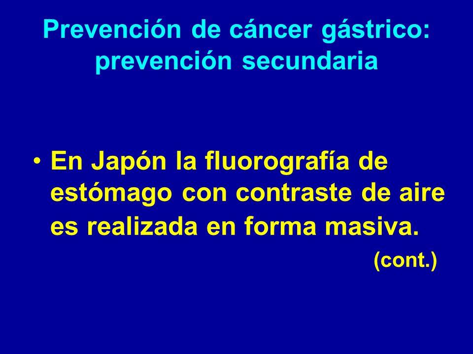 Prevención de cáncer gástrico: prevención secundaria
