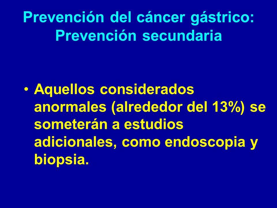 Prevención del cáncer gástrico: Prevención secundaria