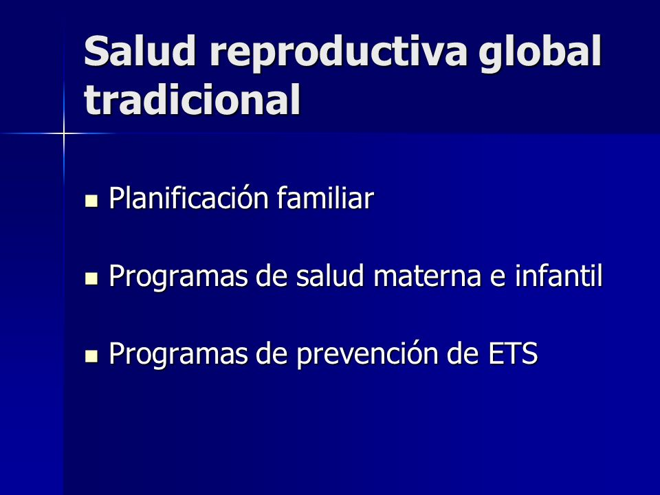 Salud reproductiva global tradicional