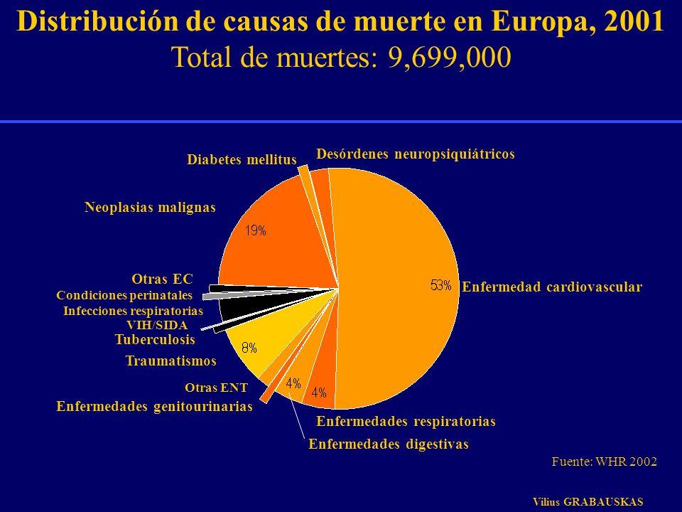 Distribución de causas de muerte en Europa, 2001