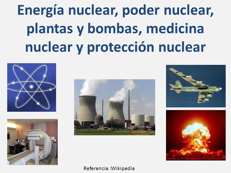 Energía nuclear, poder nuclear, plantas y bombas, medicina nuclear y protección nuclear