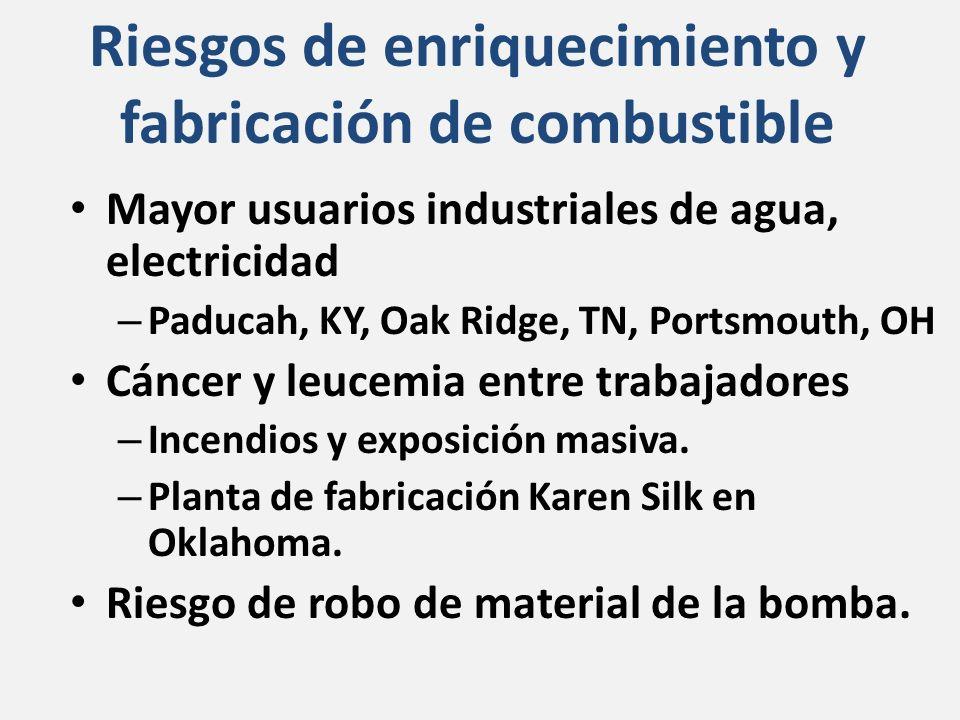 Riesgos de enriquecimiento y fabricación de combustible