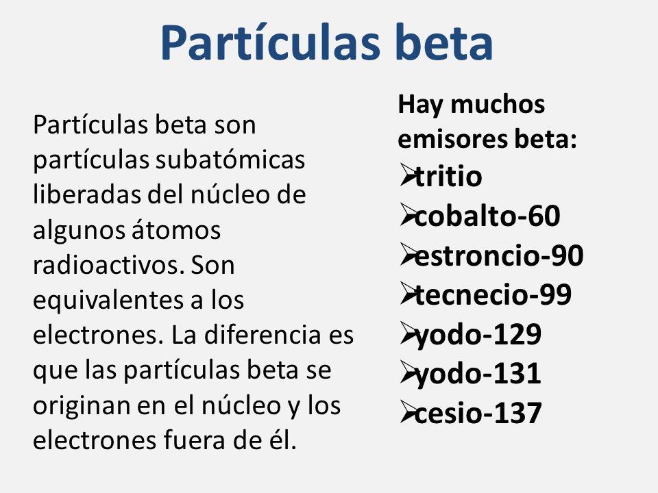 Partículas beta tritio cobalto-60 estroncio-90 tecnecio-99 yodo-129