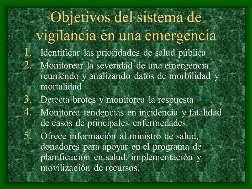 Objetivos del sistema de vigilancia en una emergencia