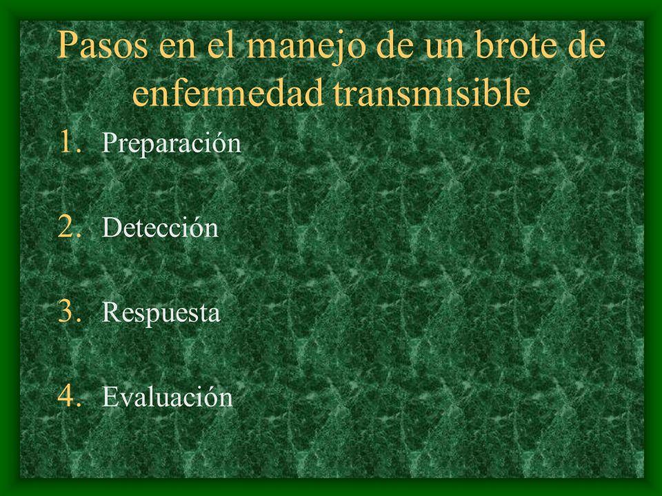 Pasos en el manejo de un brote de enfermedad transmisible