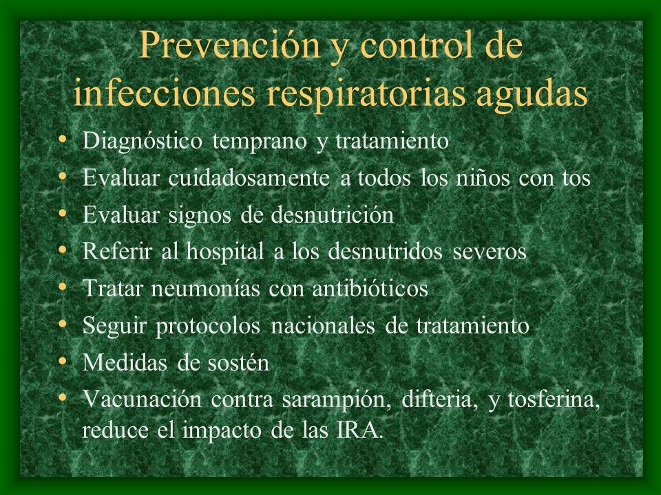 Prevención y control de infecciones respiratorias agudas