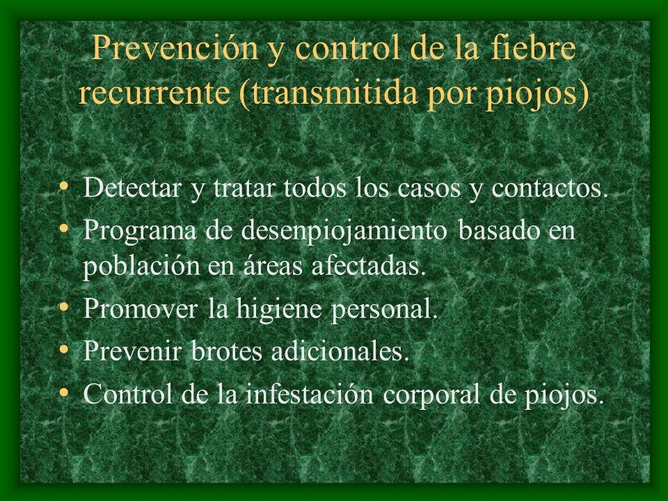 Prevención y control de la fiebre recurrente (transmitida por piojos)