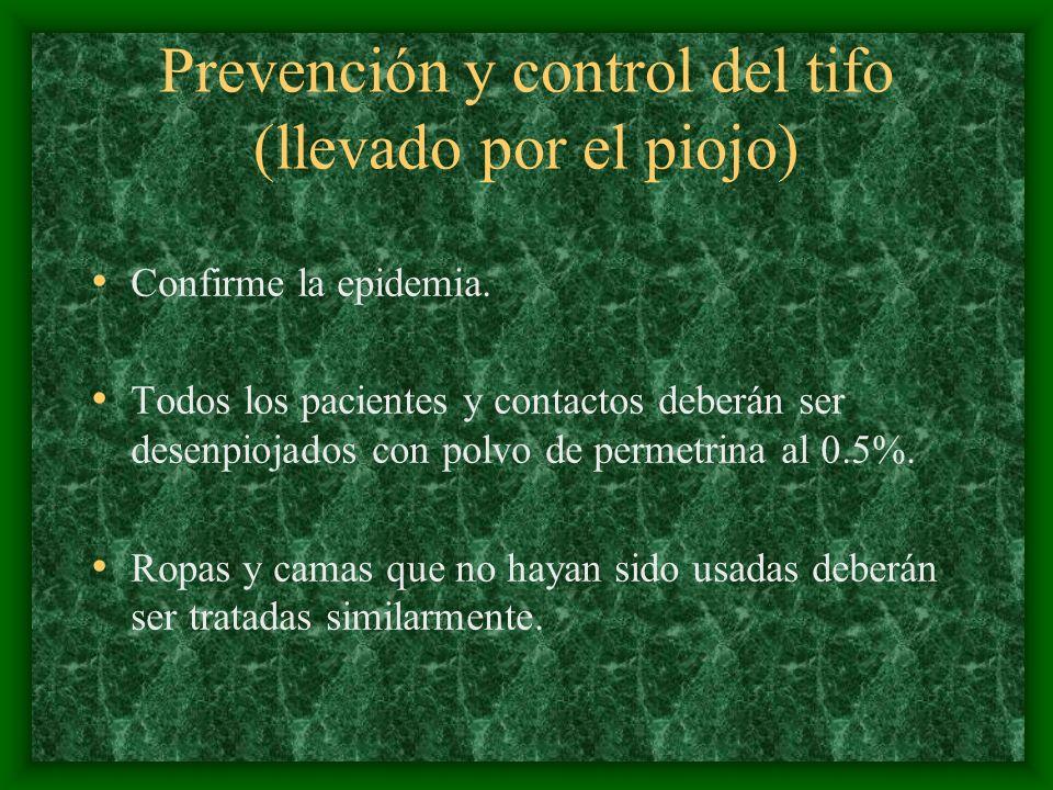 Prevención y control del tifo (llevado por el piojo)