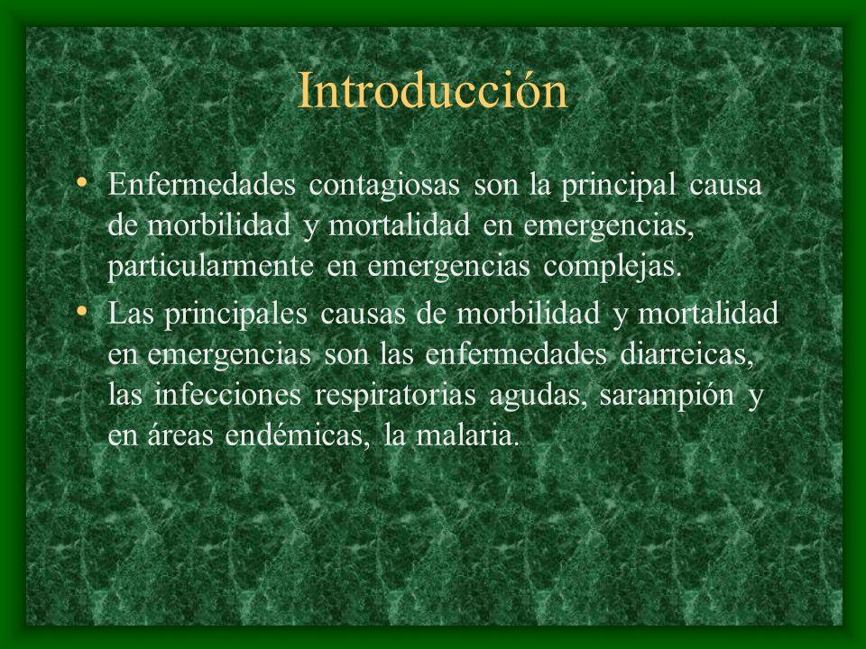 IntroducciónEnfermedades contagiosas son la principal causa de morbilidad y mortalidad en emergencias, particularmente en emergencias complejas.