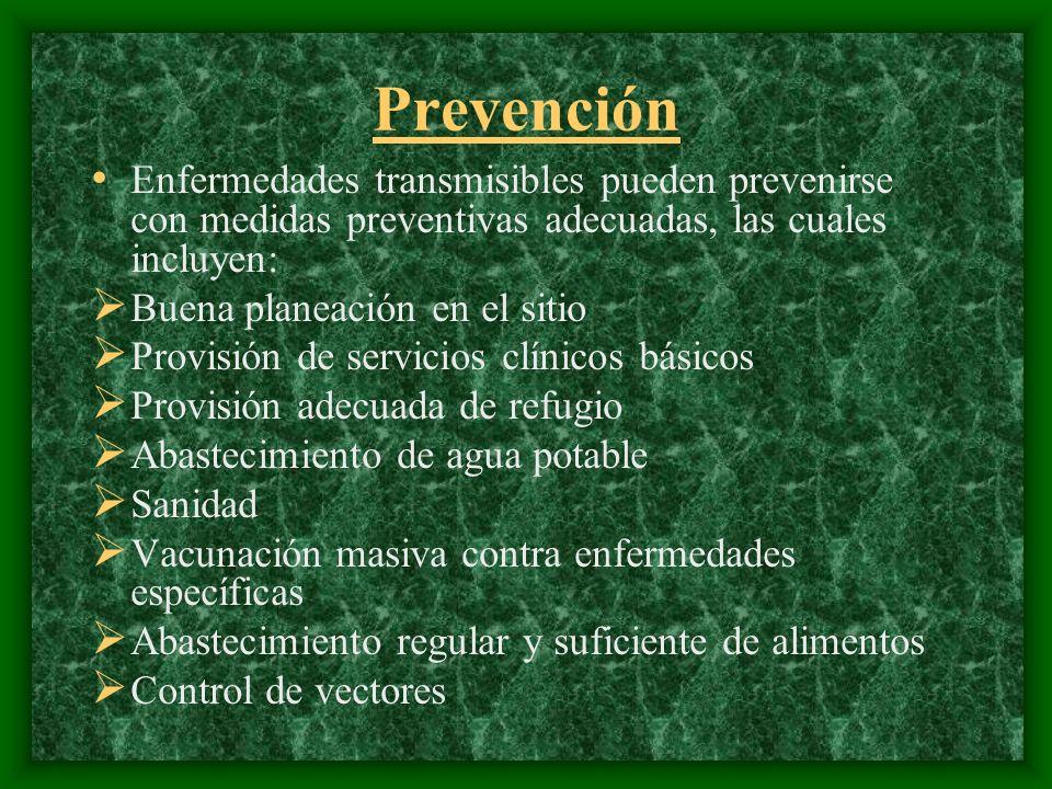 Prevención Enfermedades transmisibles pueden prevenirse con medidas preventivas adecuadas, las cuales incluyen: