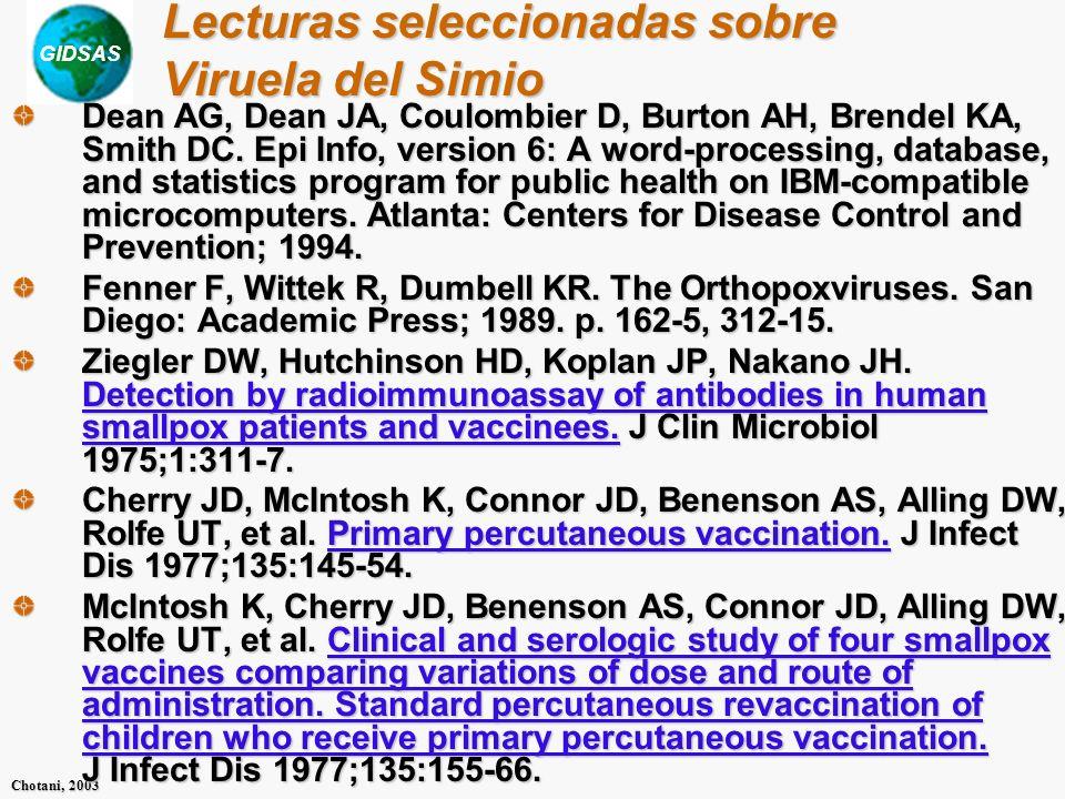 Lecturas seleccionadas sobre Viruela del Simio