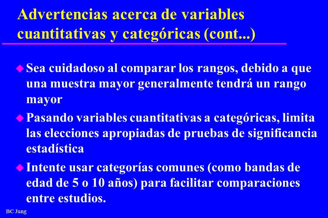 Advertencias acerca de variables cuantitativas y categóricas (cont...)