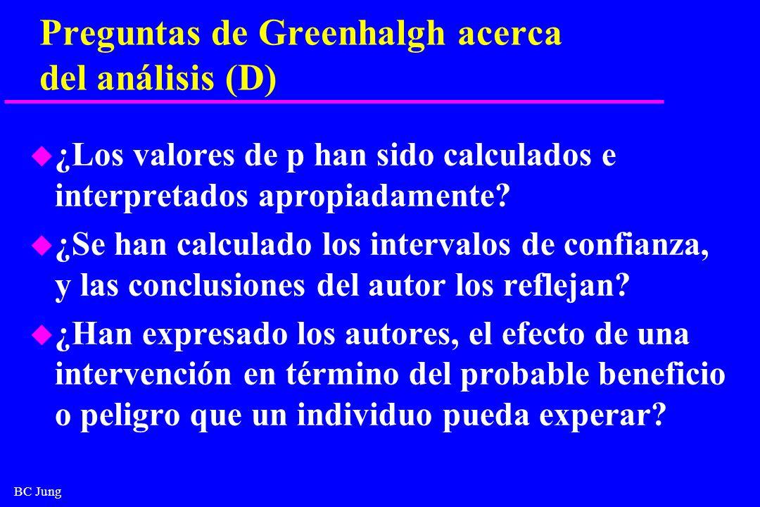 Preguntas de Greenhalgh acerca del análisis (D)