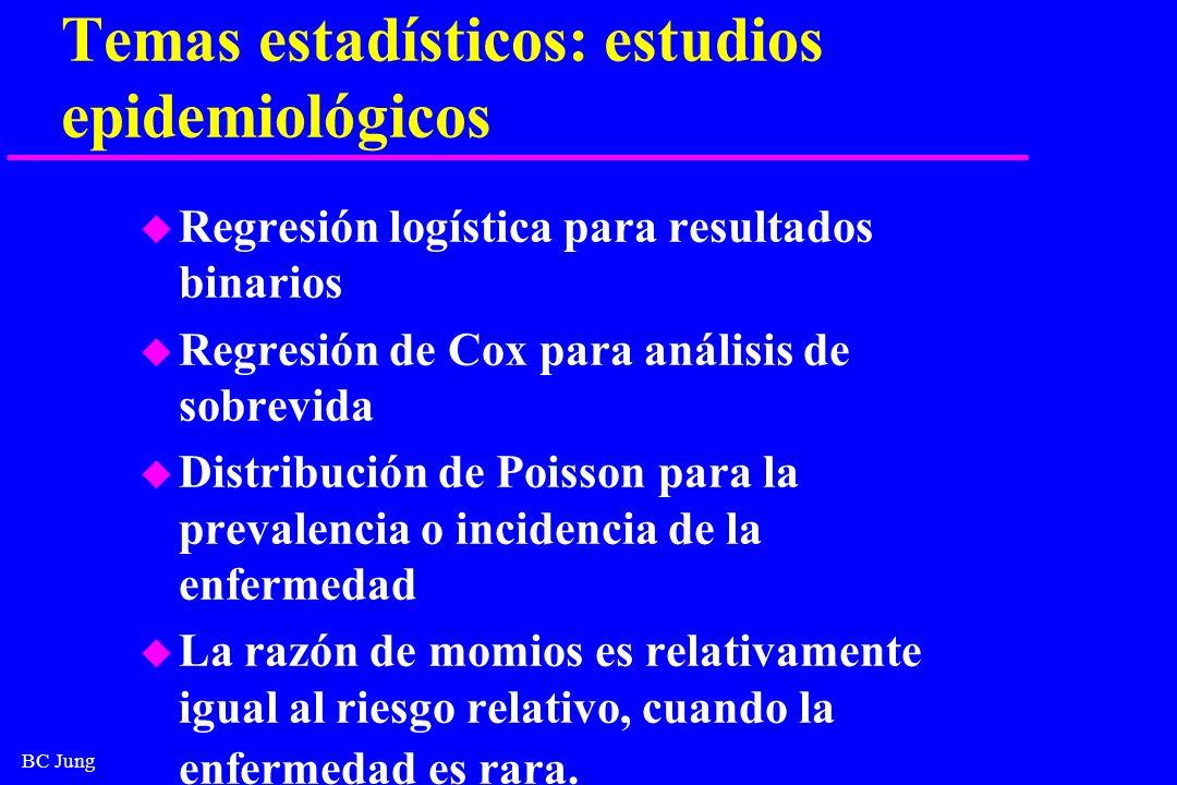 Temas estadísticos: estudios epidemiológicos