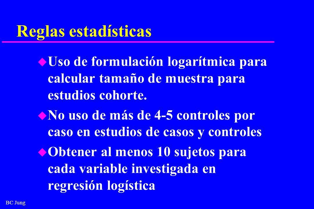 Reglas estadísticas Uso de formulación logarítmica para calcular tamaño de muestra para estudios cohorte.