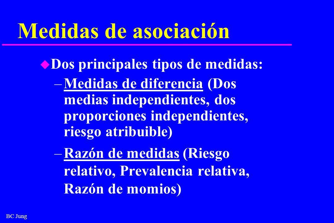 Medidas de asociación Dos principales tipos de medidas: