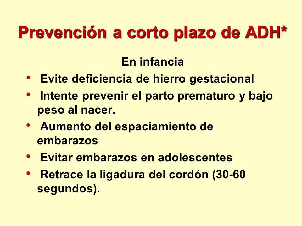 Prevención a corto plazo de ADH*