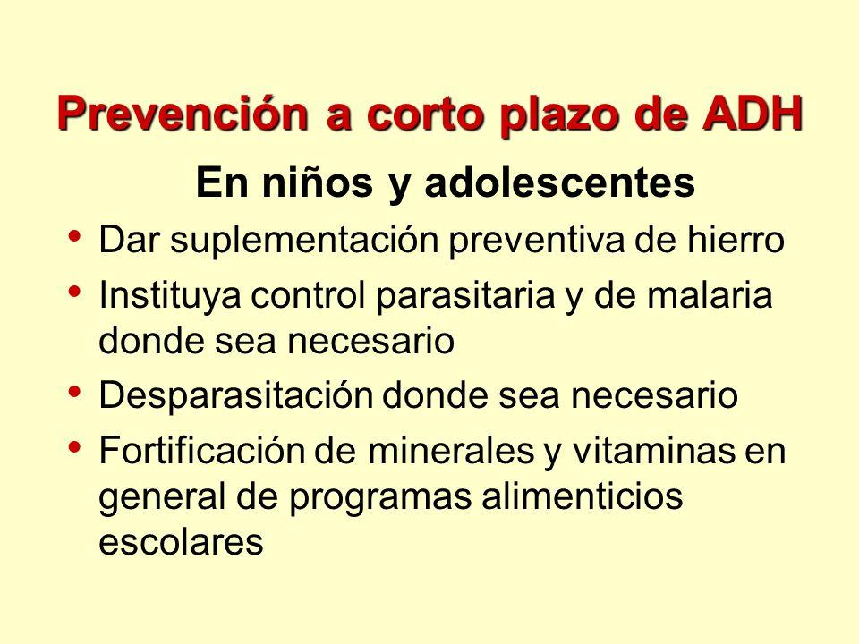 Prevención a corto plazo de ADH