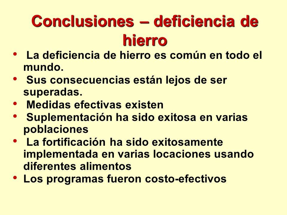 Conclusiones – deficiencia de hierro