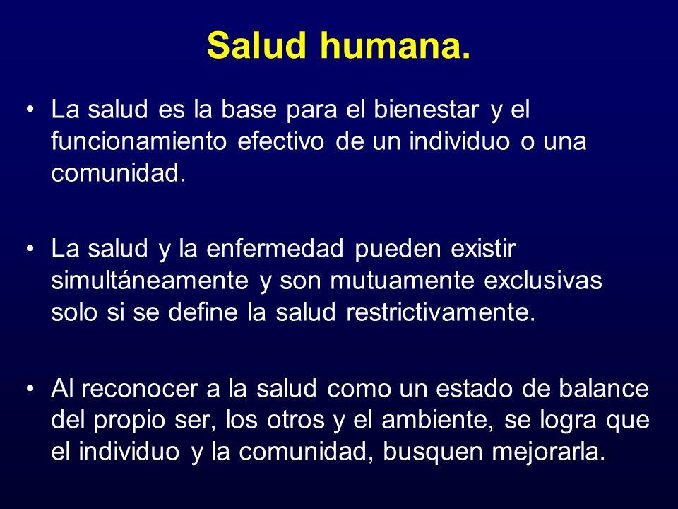 Salud humana.La salud es la base para el bienestar y el funcionamiento efectivo de un individuo o una comunidad.