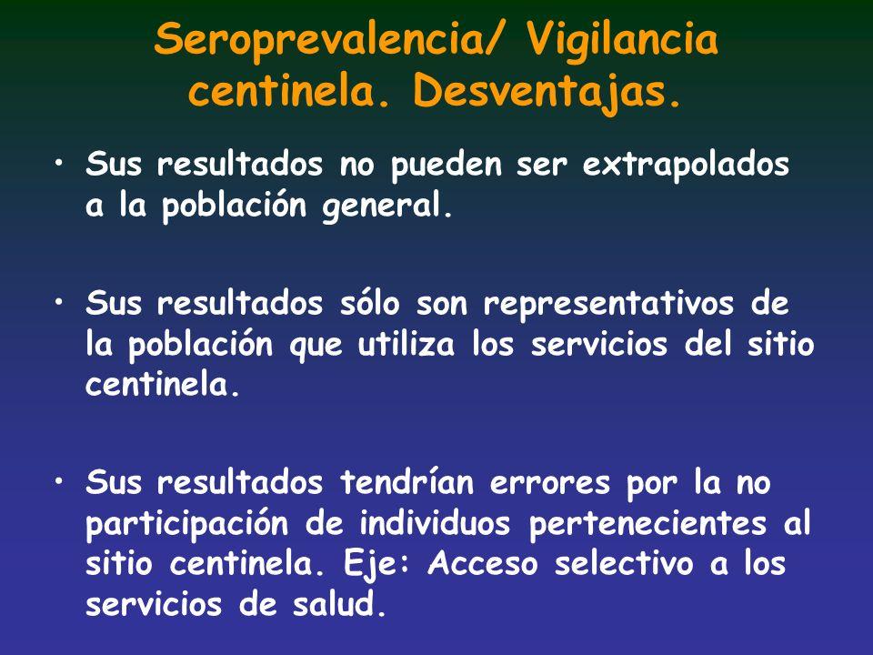 Seroprevalencia/ Vigilancia centinela. Desventajas.