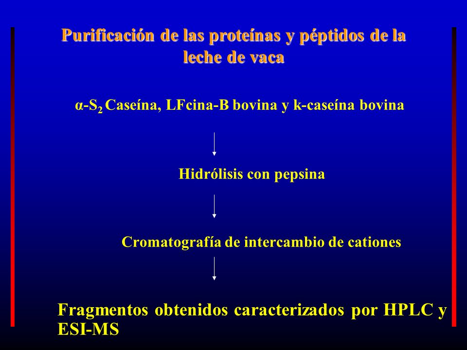 Purificación de las proteínas y péptidos de la leche de vaca