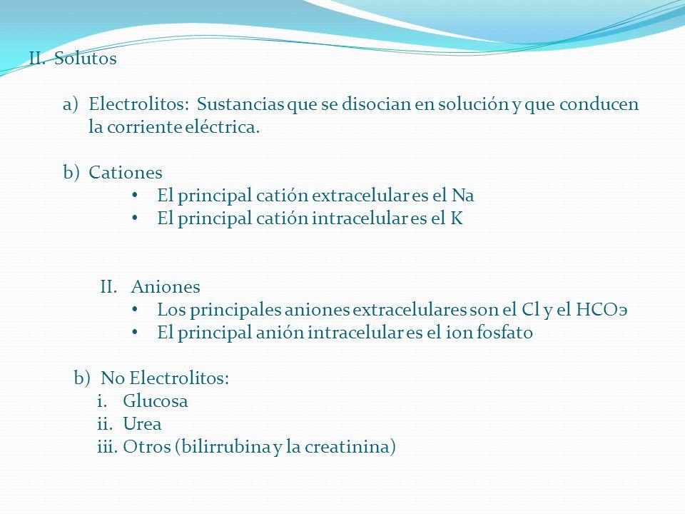 Solutos Electrolitos: Sustancias que se disocian en solución y que conducen la corriente eléctrica.