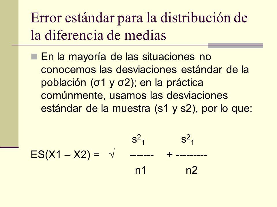 Error estándar para la distribución de la diferencia de medias