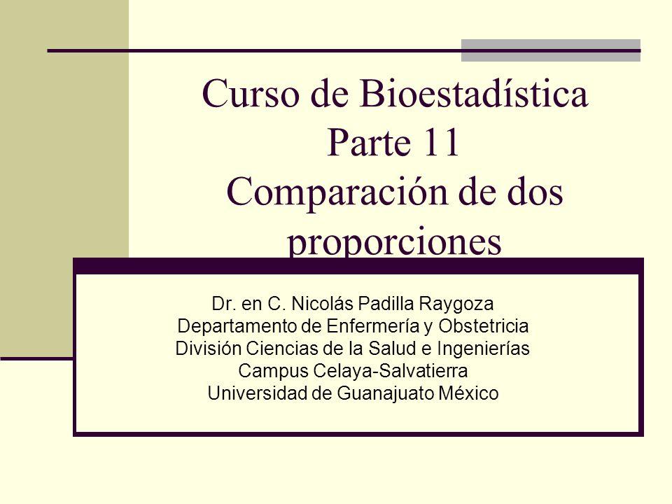 Curso de Bioestadística Parte 11 Comparación de dos proporciones