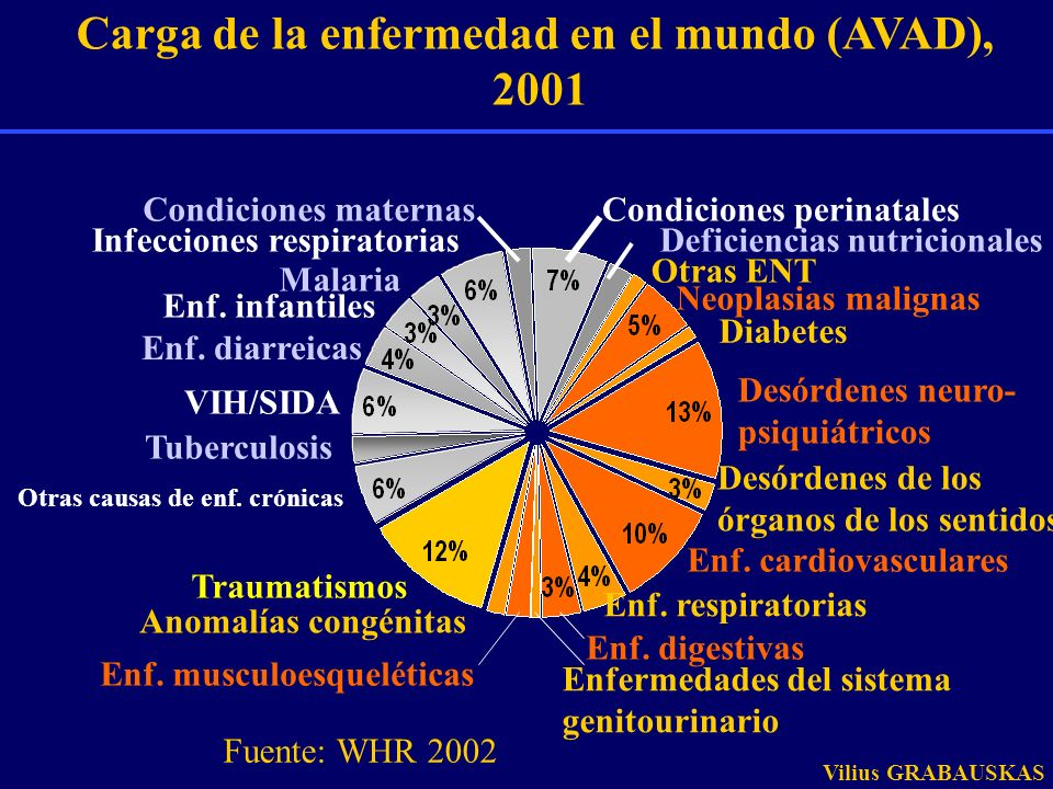 Carga de la enfermedad en el mundo (AVAD),